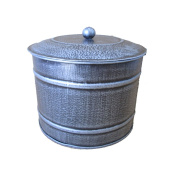 Craft Outlet Tin Container with Lid, 4.75 x 7.75 x 5.25, Antique Silver