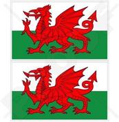 "WALES Welsh Flag CYMRU UK 4"" (100mm) Vinyl Bumper Stickers, Decals x2"