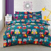 Multi Owl Duvet / Quilt Cover Bedding Set Owl Bedding Multi Mid Night Owl