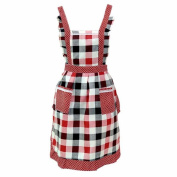 Rcool Women Lady Restaurant Home Kitchen Lattice Double Pocket Cotton Cooking Apron Dress Bib
