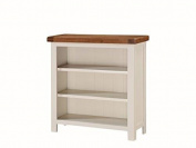 Alba Oak Low Wide Bookcase - Finish : Oak / White Luxurious Stone Painted Finish - Living Room Furniture