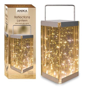 Anika 62190 Reflections Lantern with Battery Operated LED Rice Lights, Glass, Transparent/30 Warm/White