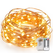 Kohree 120 Micro LEDs String Lights Battery Powered 12m Long Ultra Thin String Copper Wire Lights with Remote Control and Timer Perfect for Weddings,Party,Bedroom,Xmas-2C Batteries powered
