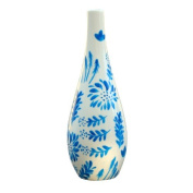Painted ceramic olive oil bottle for the kitchen or dining table. Decorative dressing bottle for oil or vinegar presented in luxury gift box for birthday and wedding presents. 'Jardin Bleu' design