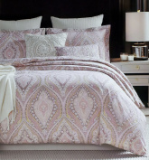 Rose Gold Bedding Glamour Damask Paisley Print Luxury Duvet Quilt Cover 3pc Set by Cynthia Rowley, Elegant Blush Dusty Rose Quartz Boho Chic Vintage Scroll Design 100-percent Cotton