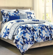 "Cynthia Rowley Easy Care Polyester FULL/QUEEN Duvet Cover Set ""Indigo Florus"" Shades of Blue Florals on Pure White"