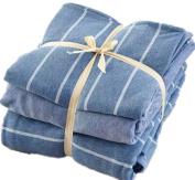 Ningkotex Light Blue White Stripe Print 4Pcs Cotton Jersey Knit Duvet Cover Set Plain Dyed Light Blue King Queen Size Fitted Sheet New