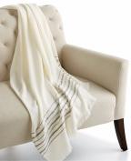Home Design Border Stripe Throw Blanket 130cm x 150cm IVORY/GREY