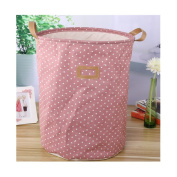 Saint Kaiko Cotton Laundry Hamper Foldable with Lid Laundry Basket Laundry Bin Round Storage Basket Dirty Clothes Holder Toy Organiser for Nursery Toys Clothing