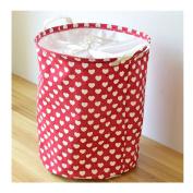 Saint Kaiko Large Capacity Cotton Laundry Hamper Foldable with Lid Laundry Basket Laundry Bin Round Storage Basket Toy Organiser for Nursery Toys Clothing