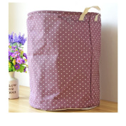 Saint Kaiko Cotton Linen Laundry Hamper Foldable with Lid Laundry Basket Laundry Bin Round with Dot Storage Basket Home Organiser for Nursery Toys Clothing