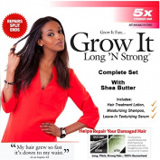 Long 'N Strong Complete Treatment Set with Shea Butter for All Ethnic Hair Types Shampoo Treatment Lotion and Leave-in Texturizing Serum Helps Grow Hair Longer and Stronger