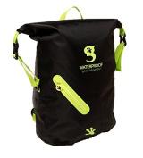 geckobrands Waterproof Lightweight Backpack, Black/Bright Green
