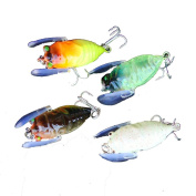 Fish Lures, Napoo 4pc Pesca Isca Artificial 4-coloured Fishing Cicada Bait Bass Crank Fish Tackle Hooks