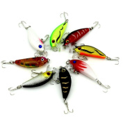 Fishing Lures, Napoo 8pc Artificial Fishing Lure+ 6 Fishing Hooks,8 Colour Fishing Lures Bait Tackle Kit