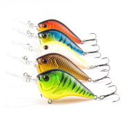 Fishing Lures, Napoo Durable 5pc Fishing Curling Deep Swimming Hard Baits Wobble Slow Floating Dock Fishing Tackle Hooks