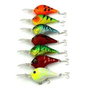 Fishing Lures, Napoo Durable 7pcs Plastic Fishing Lures Lot Fish Bass CrankBait Crank Bait Tackle Hooks