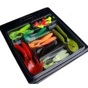 Fishing Lures, Napoo Portable 15Pcs Soft Worm Lure Set + 6 Head Jig Hooks Fishing Baits Set Fish Tackle Hooks