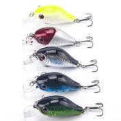 Fishing Lures, Napoo 5pc Swimming Fishing Artificial Bait, Japan Hard Baits Fishing Wobbler Crankbait Fish Tackle Hooks