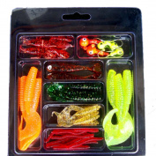 Fishing Lures, Napoo Durable 33Pcs Soft Worm Lure Set Head Jig Hooks Fishing Baits Set Fishing Tackle Hooks