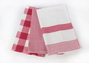 Three Red and White Kitchen Towels by C & F