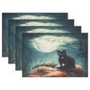 WOZO Halloween Cat Moon Bat Placemat Table Mat, Pumpkin Night 30cm x 46cm Polyester Table Place Mat for Kitchen Dining Room Set of 6