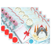 WOZO Merry Christmas Penguin Placemat Table Mat, Candy 30cm x 46cm Polyester Table Place Mat for Kitchen Dining Room Set of 4