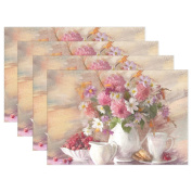 WOZO Vintage Oil Painting Placemat Table Mat, Bouquet Flower Autumn in Vase Art 30cm x 46cm Polyester Table Place Mat for Kitchen Dining Room Set of 6