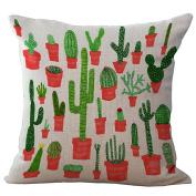 Decorative Cushion Case,Hmane 4Pcs 4620cm Tropical Cactus Plants Pattern Polyester Ramie Square Pillow Cover Pillowcase Home Decor - Random Pattern Deliver