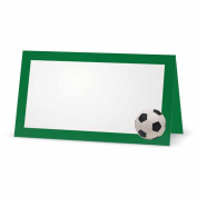 Soccer Ball on Green Place Cards - TENT STYLE - 10 PACK - White Blank Front Solid Colour Border - Placement Table Name Seating Stationery Party Supplies - Occasion Dinner Event