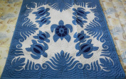 Hawaiian Quilt, Wall Hanging 42x42, Baby Crib Blanket, 100% Hand Quilted and 100% Hand Appliqued