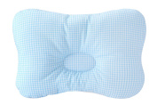 Baby Pillow For Newborn Breathable 3-Dimensional Cool Air Mesh Organic Cotton, Protection for Flat Head Syndrome Cheque Blue