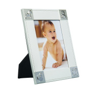 Elegant Baby Photo Frame 13cm x 18cm Perfect Gift for a Boy or Girl Newborn with Silver Plated Corners (Design
