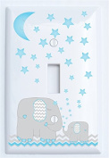 Blue Elephant Light Switch Plate Single Toggle with Blue Moon and Stars / Elephant Nursery Decor with Grey and Blue Chevrons.