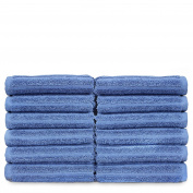 Luxury Hotel & Spa Towel Turkish Cotton Wash Cloths - Wedgewood - Striped - Set of 12