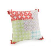 Jessica Simpson A055815MUICE Asana Patchwork Pom Dec Pillow, 41cm x 41cm , Multi Asana Patchwork Pom Dec Pillow