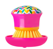 Vigar Hans Palm Dish Brush with Holder; 10cm by 10cm by 8.3cm ; Multi Coloured