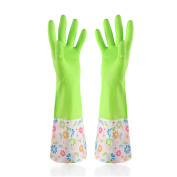HugeStore Cute Cartoon Waterproof Washing Up Gloves Household Cleaning Gloves Kitchen Gloves Green