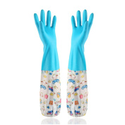 HugeStore Cute Cartoon Waterproof Household Cleaning Gloves Kitchen Gloves Washing Up Rubber Gloves Blue