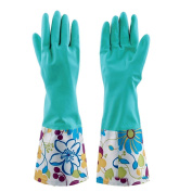 HugeStore Women Ladies Waterproof Floral Household Cleaning Gloves Kitchen Gloves Washing Up Rubber Gloves Blue