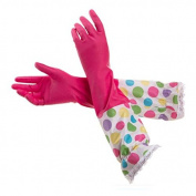 HugeStore Women Ladies Waterproof Polka Dot Household Cleaning Gloves Kitchen Gloves Washing Up Rubber Gloves Hot Pink