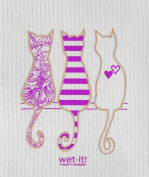 Swedish Treasures Wet-it! Cleaning Cloth, Cat Lover in Purple, Super Absorbent, Reusable, Biodegradable, All-purpose