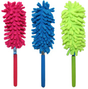 Set of 3 Telescope Microfiber Dusters! Extends to 60cm - 3 Assorted Bright and Beautiful Colours - Easily Remove Microfiber for Hand Washing! Quality Microfiber Duster Perfect for Home or Office!