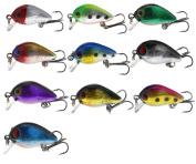 10x Micro Crank Plug Mixed Colour 3D Eyes Fishing Lures Spinning Jerk Crank