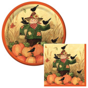 Thanksgiving Scarecrow Lunch Plates & Napkins Party Kit for 8