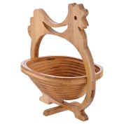 Handicraft Bazaar Hen Wooden Portable Fruit Basket