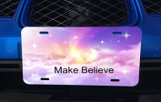 Fluffy Clouds And Stars Quote Make Believe Printed Design Aluminium Licence Plate for Car Truck Vehicles