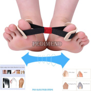 PEDIMEND Hallux Valgus Correction Prevention Toe Belt Support (1 Piece) - Relieve Thumb Strain / Toe Separator / Bunion Protector / Strained Foot Care Brace / Restore Natural Big Toe Alignment / Exercise Belt Foot Pain Relief