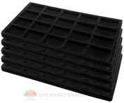 5 Black Insert Tray Liners W/ 20 Compartments Drawer Organiser Jewellery Displays