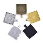 """50pcs Square Pendant Tray - Mixed 5 Colours Square Pendant Blanks Cameo Bezel Cabochon Settings - 1"""""""